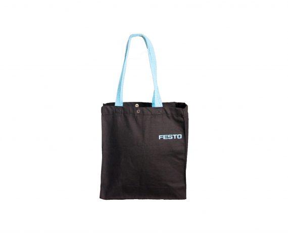 Festo Baskılı Siyah Kanvas Çanta | K29